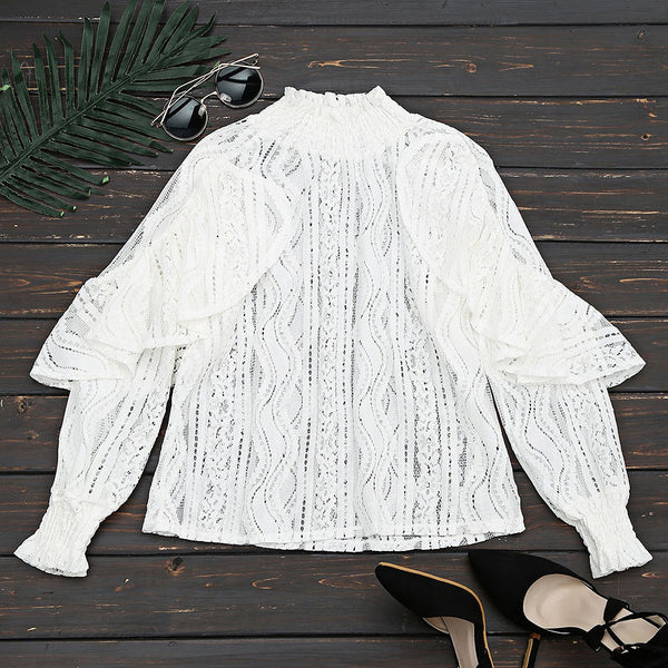 Ruffle Hem See Through Blouse 8676