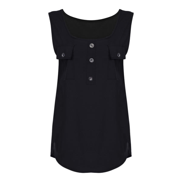 Stylish Scoop Neck Sleeveless Button Pocket Women T-shirt 3700
