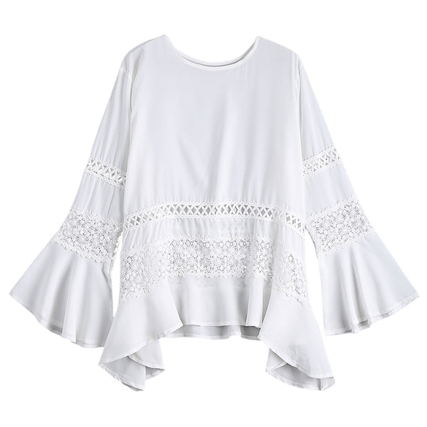 Hollow Out Bell Sleeve Asymmetric Blouse 7929