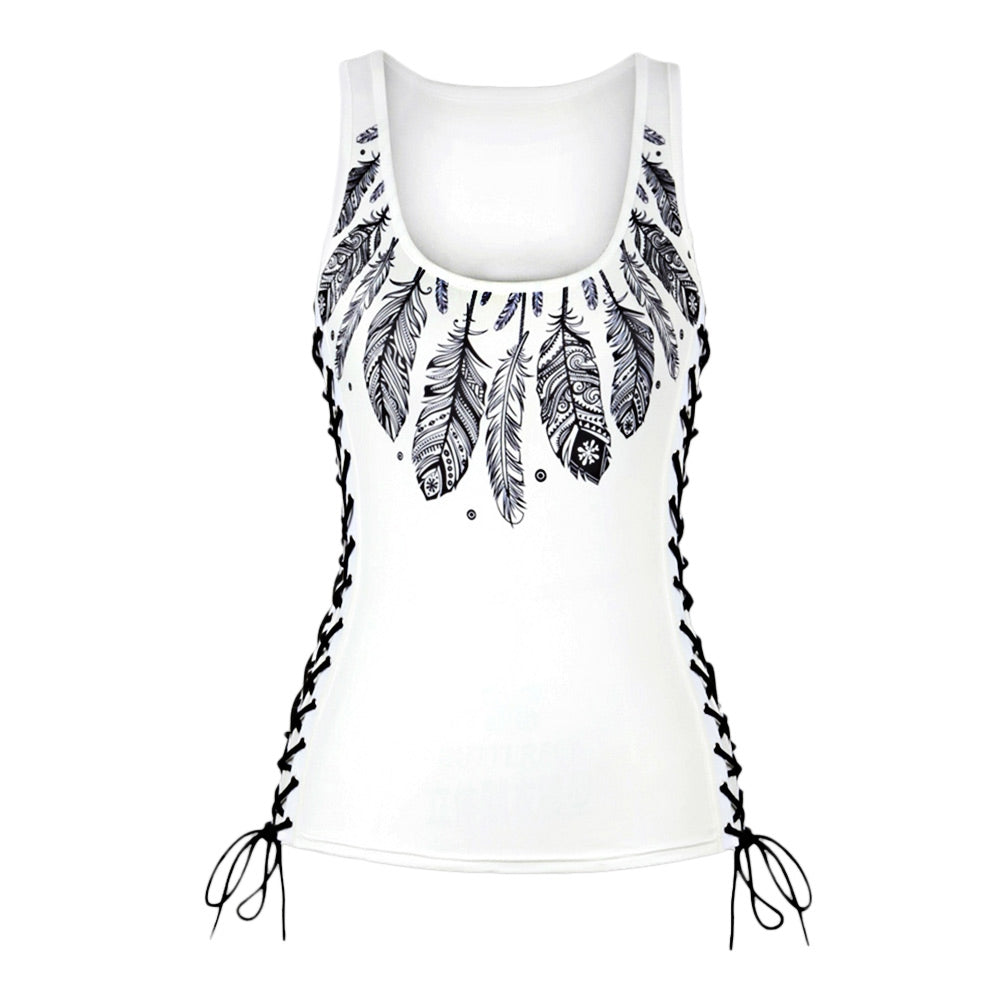 Feather Print Lace Up U Neck Tank Top 8232