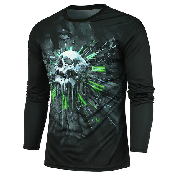 Round Neck Skull Printing Long Sleeves T-shirt for Men 4987