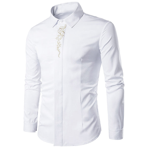 Cotton Lapel Collar Embroidered Long Sleeve Man Shirt 1908