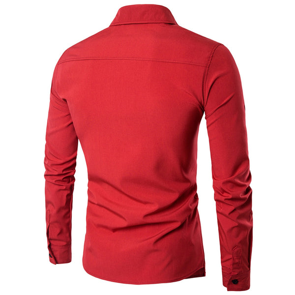 Turndown Collar Long Sleeve Cotton Men Shirt 4261
