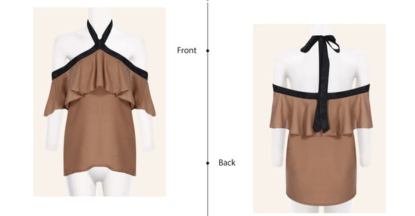 Stylish Halter Neck Backless Flounce Chiffon Women Blouse 5162