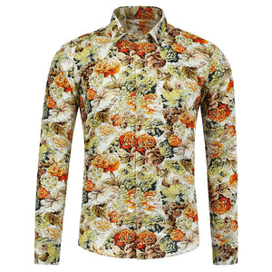 Casual Flower Printed Man Shirt 9517