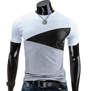 Casual Patchwork Short Sleeved T Shirt for Man 6620