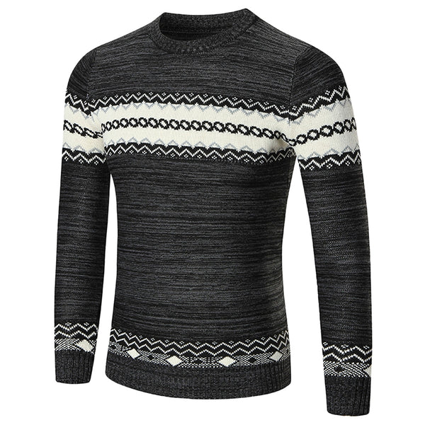 Crew Neck Color Blocking Men Sweater 5844