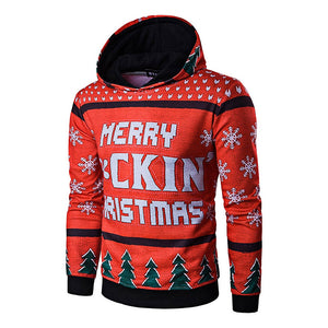 Long Sleeve Tree and Snowflake Printing Christmas Red Hoodie 9974