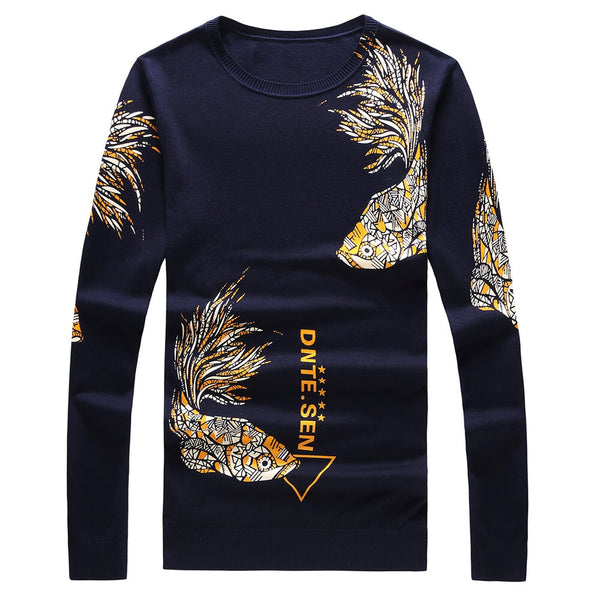 Round Neck Fish Graphic Printed Pullover Man Sweater 2586