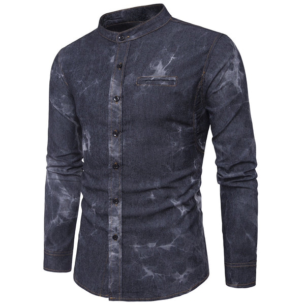 Casual Stand Collar Tie Dye Denim Shirt for Men 7082