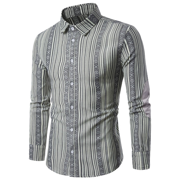 Lapel Collar Striped Casual Man Shirt 9667