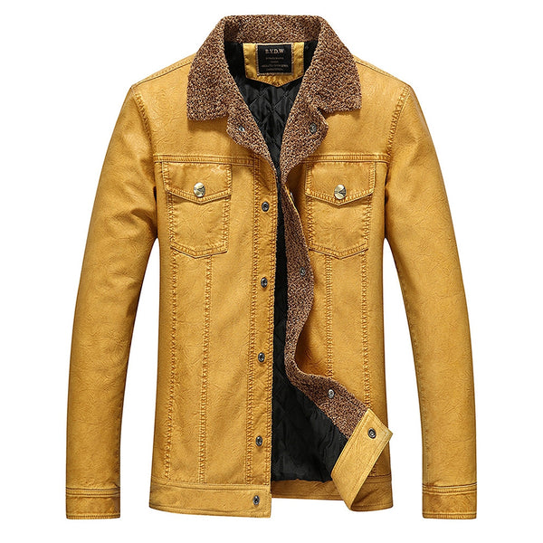 Man-made Leather Turndown Collar Men Jacket Padded Coat 7441