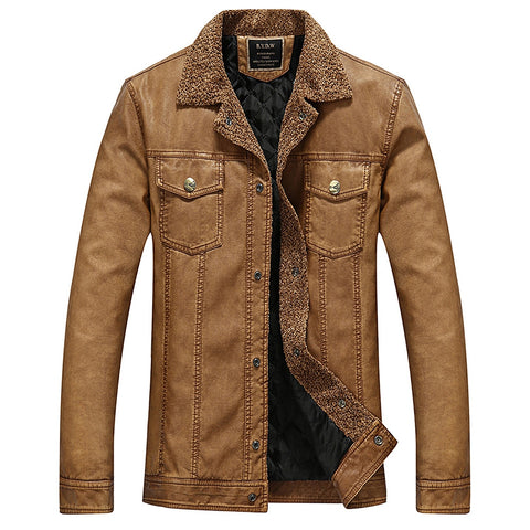 Men's Solid Color Turndown Collar Padded Faux Leather Jacket