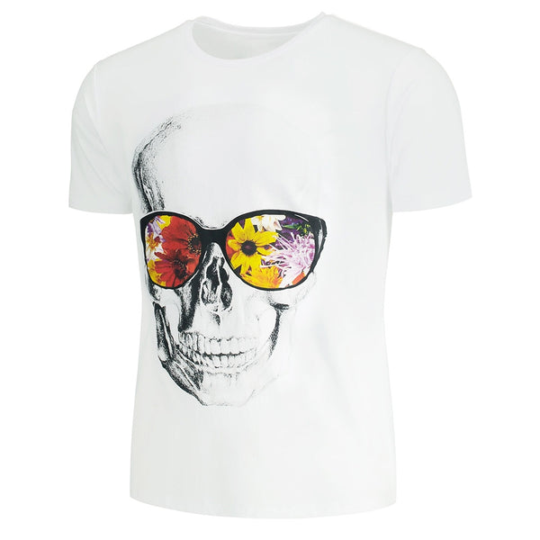 Slim Polyester Flowers and Skull Printed Tee Top for Man 3380