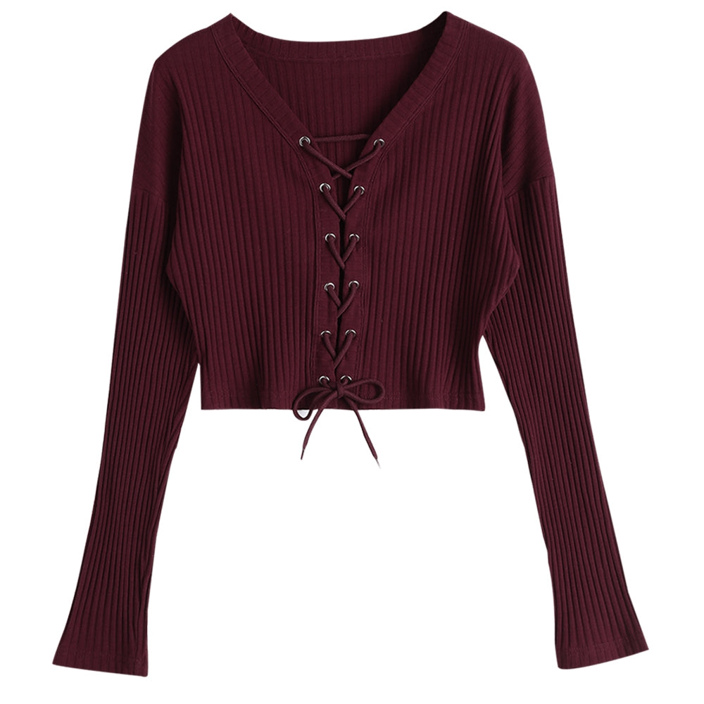 Lace Up Long Sleeve Ribbed Knitted Crop Top for Woman 7294