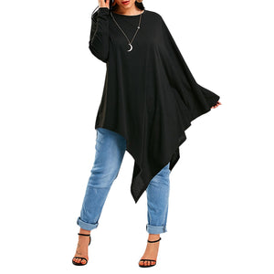 Long Sleeve Poncho Asymmetrical T-Shirt 3102