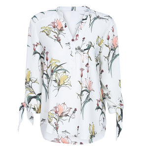 V Neck 3/4 Sleeve Floral Print Pocket Women Blouse 5395