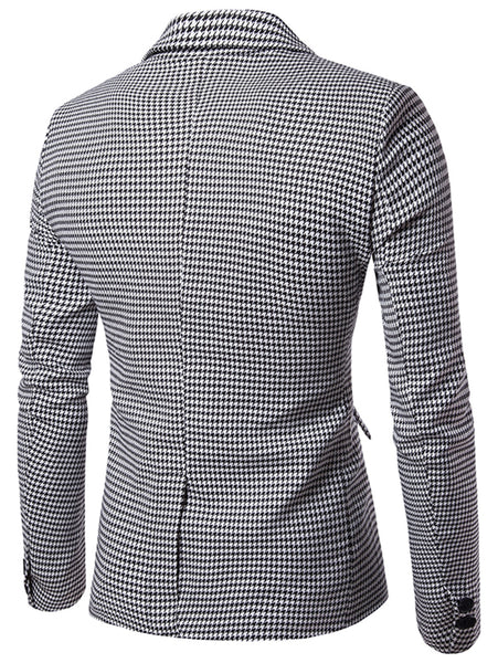 Tailored Collar Houndstooth Dress Blazer for Man 5734