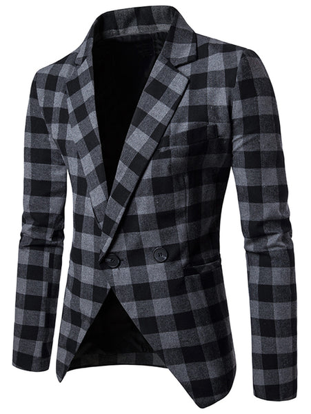 Lapel Collar Single Breasted Plaid Man Blazer 1302