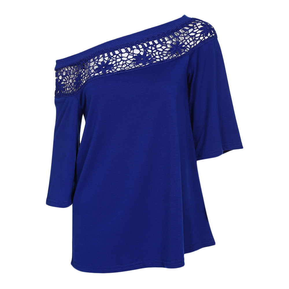 Stylish Hollow Out Lace Spliced Half Sleeve Women Blouse 5371
