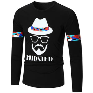 Graphic Letter Printed Long Sleeved Man T Shirt 5496