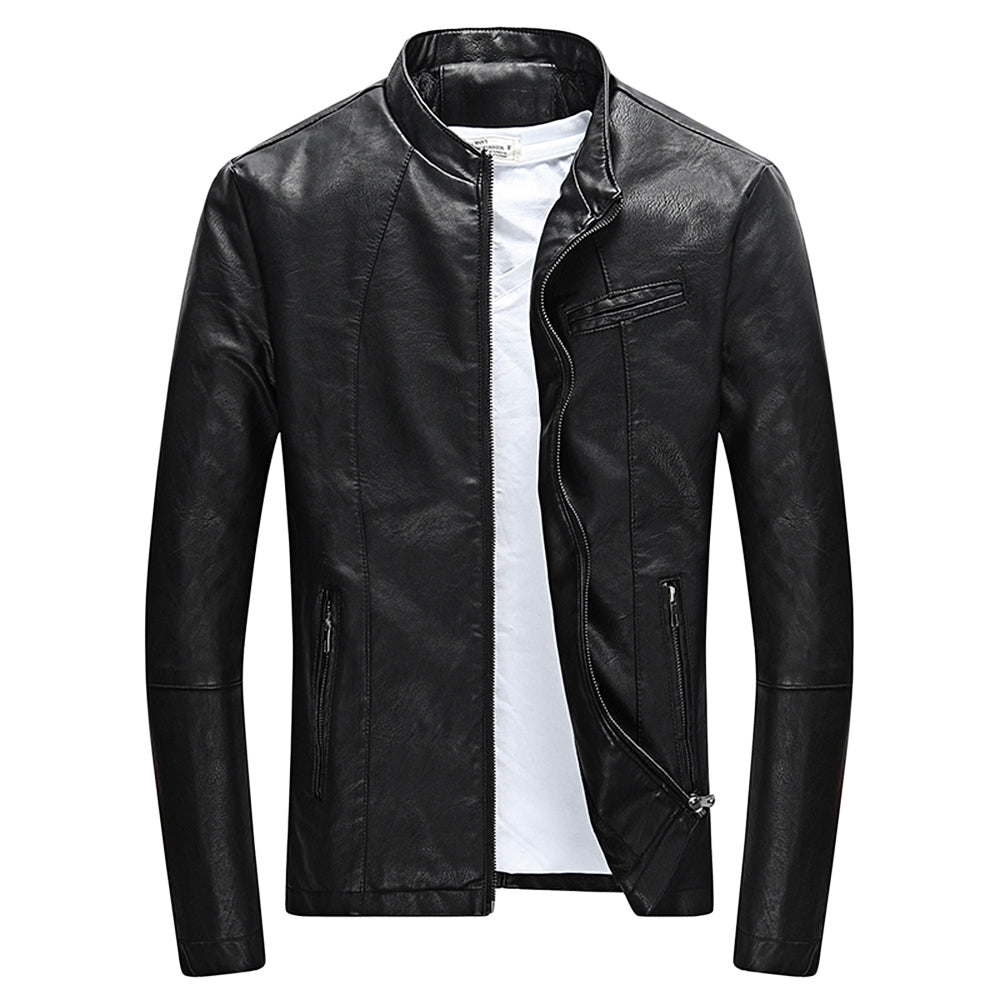 Classic Faux Leather Stand Collar Zipper Slim Fit Short Coat Jacket for Men 2212