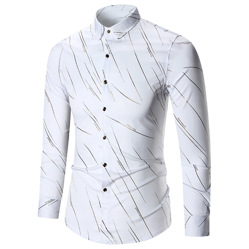 Turn Down Collar Dress Cotton Shirt for Men 7855