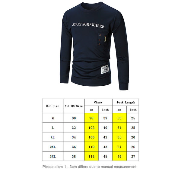 Cotton Letter Printed Man Sweatshirt with Button Embellish 3946