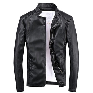 Pu Leather Stand Collar Zip Man Jacket Coat 8760