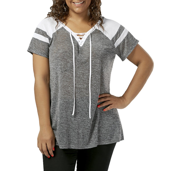 Plus Size Raglan Sleeve Lace Up Top 5354