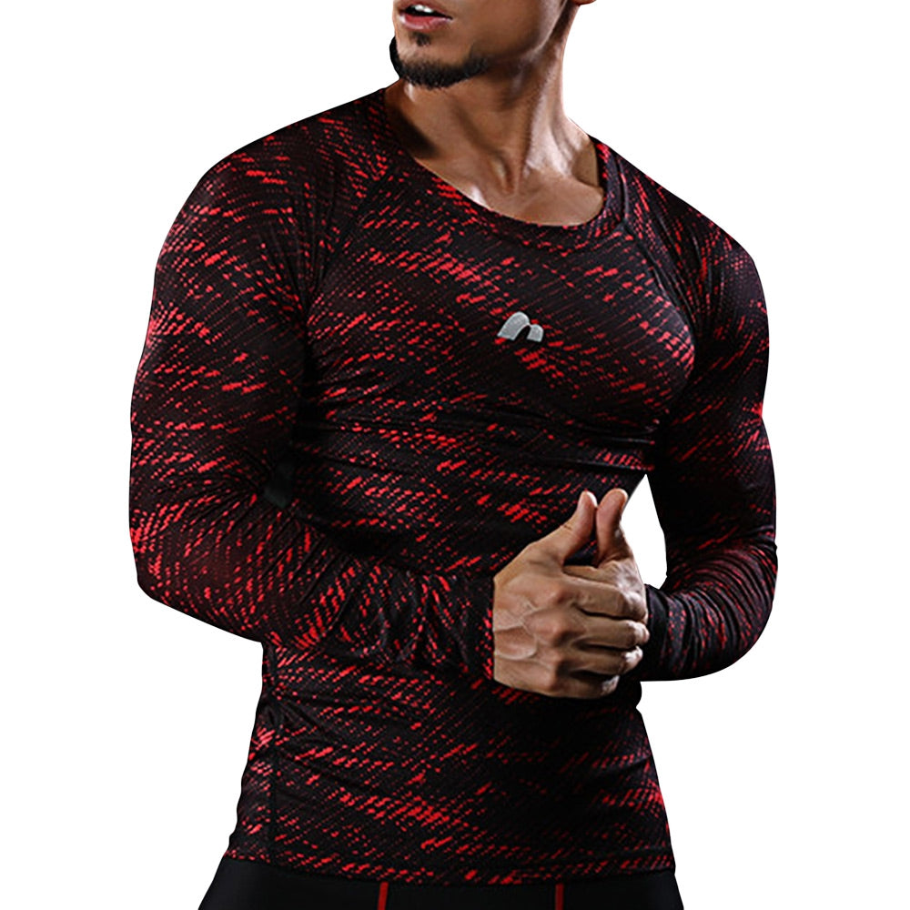 Stretchy Camouflage Printed Quick Dry Gym Men T-shirt 9241