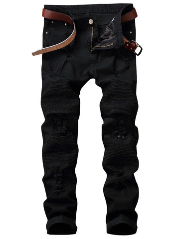 Men's Zip Fly Pleated Solid Color Distressed Biker Jeans