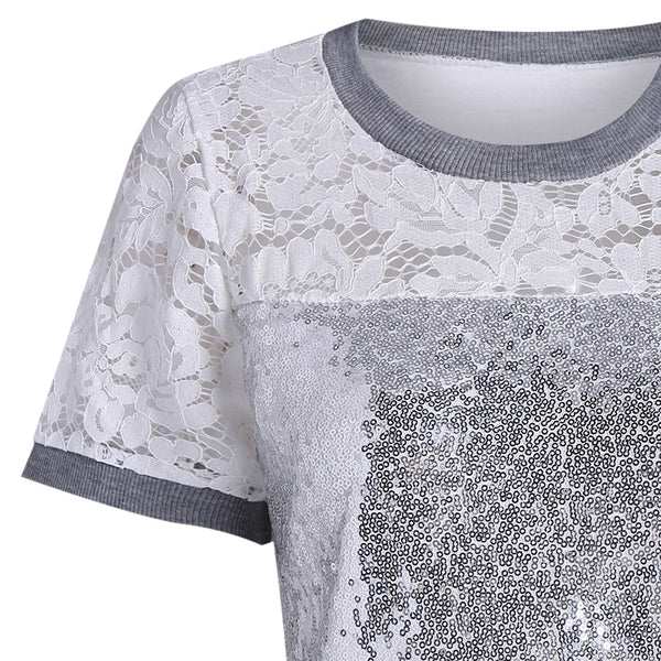 Sequin Short Sleeve Lace T-shirt 1848
