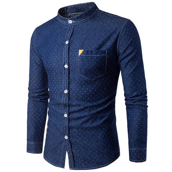 Holes Denim Man Shirt with Pocket Letter Design 5391