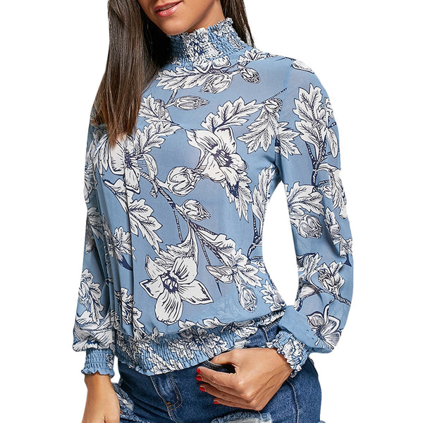 Mock Neck Floral Chiffon Long Sleeve Top 7476