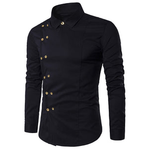 Lapel Collar Double Breasted Long Sleeve Slim Fit Men Shirt 6578