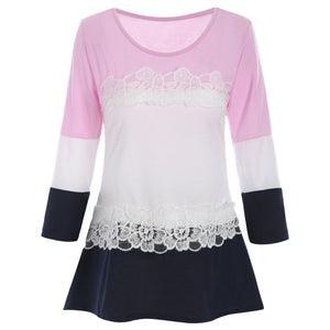 Lace Panel Color Block Tunic T-shirt 4928