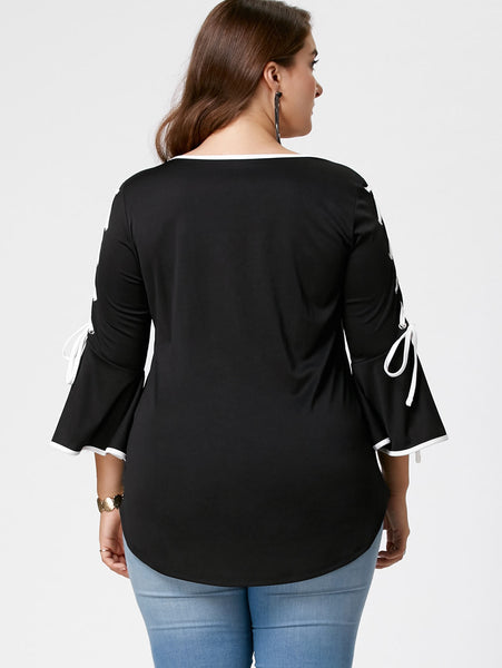 Plus Size Lace Up Flare Sleeve Top 5421