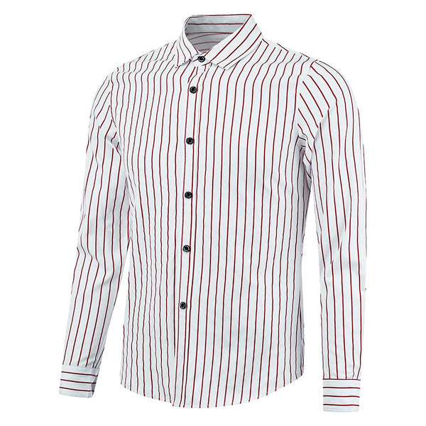 Cotton Long Sleeved Men's Striped Casual Shirt 3134