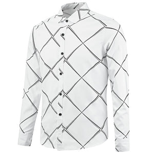 Lapel Collar Casual Check Long Sleeved Men Shirt 5195