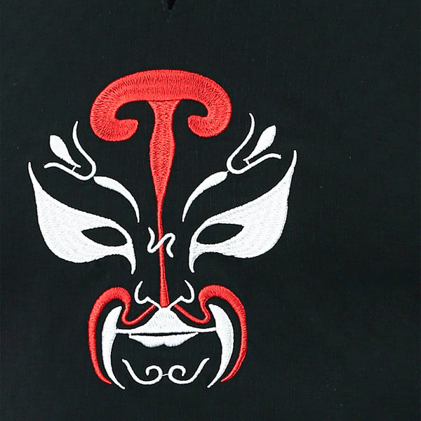 Cotton Notched Peking Opera Mask Embroidered Men Tee 3034
