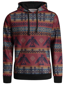 Casual Printed Kangaroo Pocket Hoodie for Men 9225