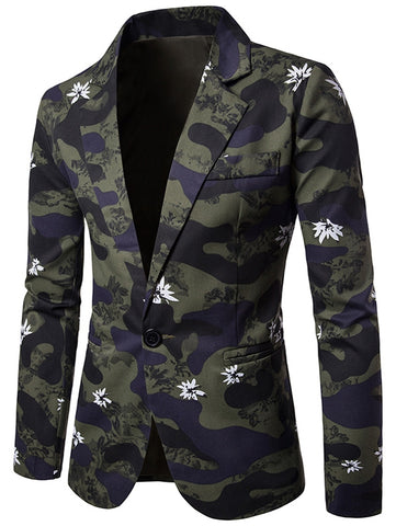Turn Down Collar Camouflage Floral Printed Men Blazer 7529