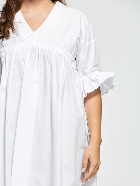 1/2 Flare Sleeve Women Vneck Blouse Dress 9555