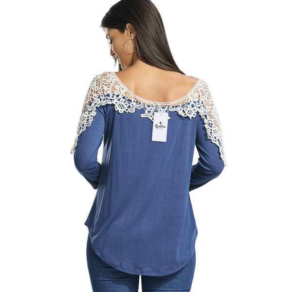 Long Raglan Sleeve T-shirt with Lace Trim 8202