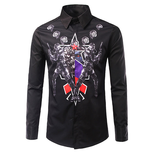 Turndown Collar 3D Symmetrical Warrior Printed Long Sleeve Men Blouses 8228