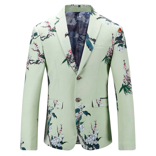 Cotton Floral Printed Single Breasted Long Sleeve Men Blazer 4241