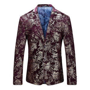 Party Floral Printed Gilding Single Breasted Men Blazer 2302