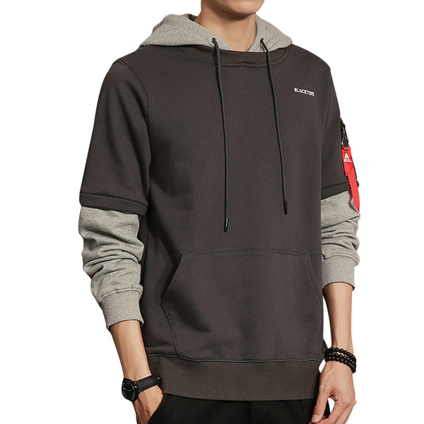 Shoulder Zip Patchwork Men Hooded Sweatershirt Pullover 6718