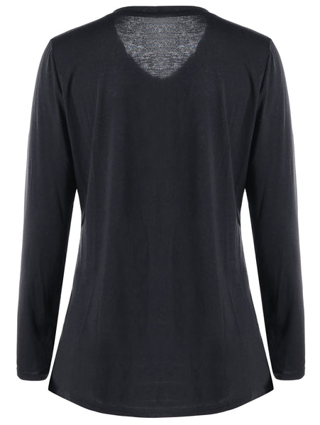 Love Letter V Neck Black Women Top 9096